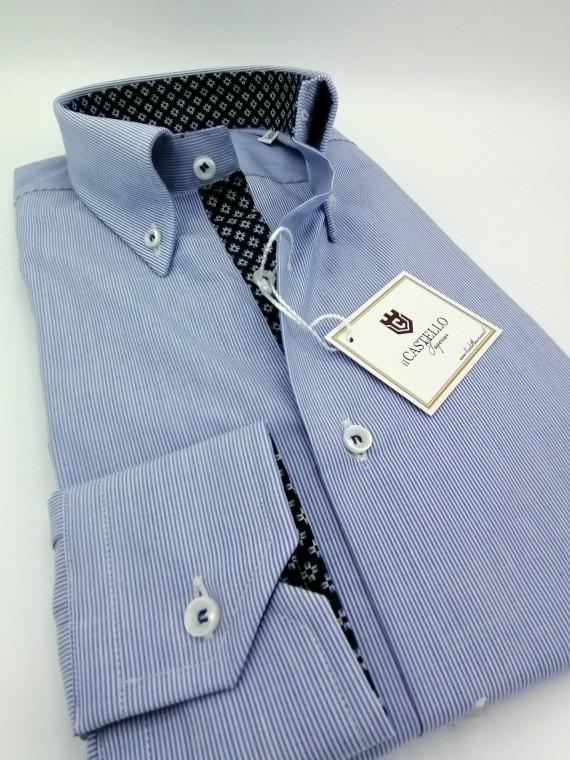 Camicia Uomo Rigata Bianco Celeste Cod. 5234